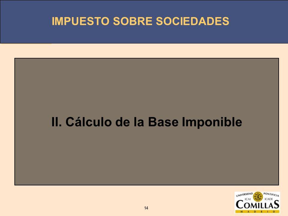 IMPUESTO SOBRE SOCIEDADES 14 IMPUESTO SOBRE SOCIEDADES 14 II. Cálculo de la Base Imponible