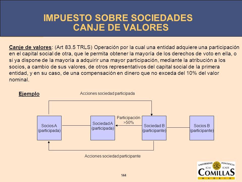 IMPUESTO SOBRE SOCIEDADES 144 IMPUESTO SOBRE SOCIEDADES 144 CANJE DE VALORES Socios A (participada) Sociedad A (participada) Sociedad B (participante)