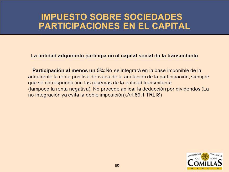 IMPUESTO SOBRE SOCIEDADES 150 IMPUESTO SOBRE SOCIEDADES 150 PARTICIPACIONES EN EL CAPITAL La entidad adquirente participa en el capital social de la t