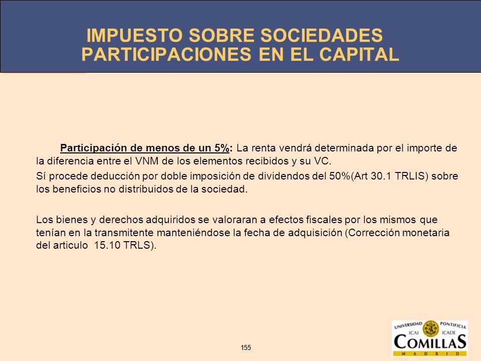 IMPUESTO SOBRE SOCIEDADES 155 IMPUESTO SOBRE SOCIEDADES 155 PARTICIPACIONES EN EL CAPITAL Participación de menos de un 5%: La renta vendrá determinada