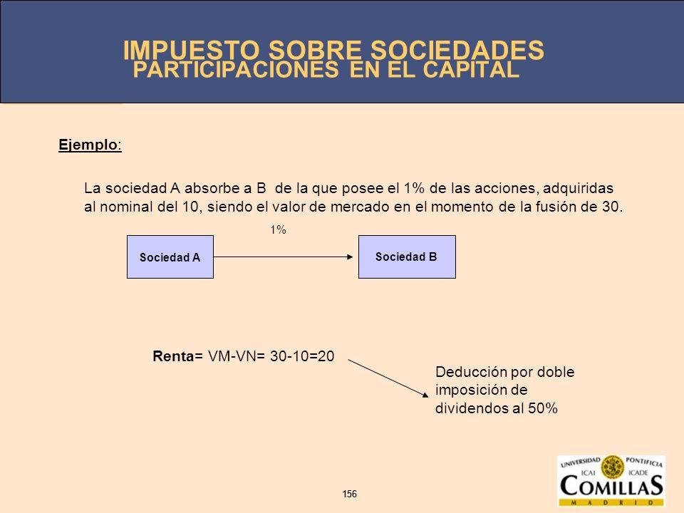 IMPUESTO SOBRE SOCIEDADES 156 IMPUESTO SOBRE SOCIEDADES 156 PARTICIPACIONES EN EL CAPITAL Ejemplo: La sociedad A absorbe a B de la que posee el 1% de