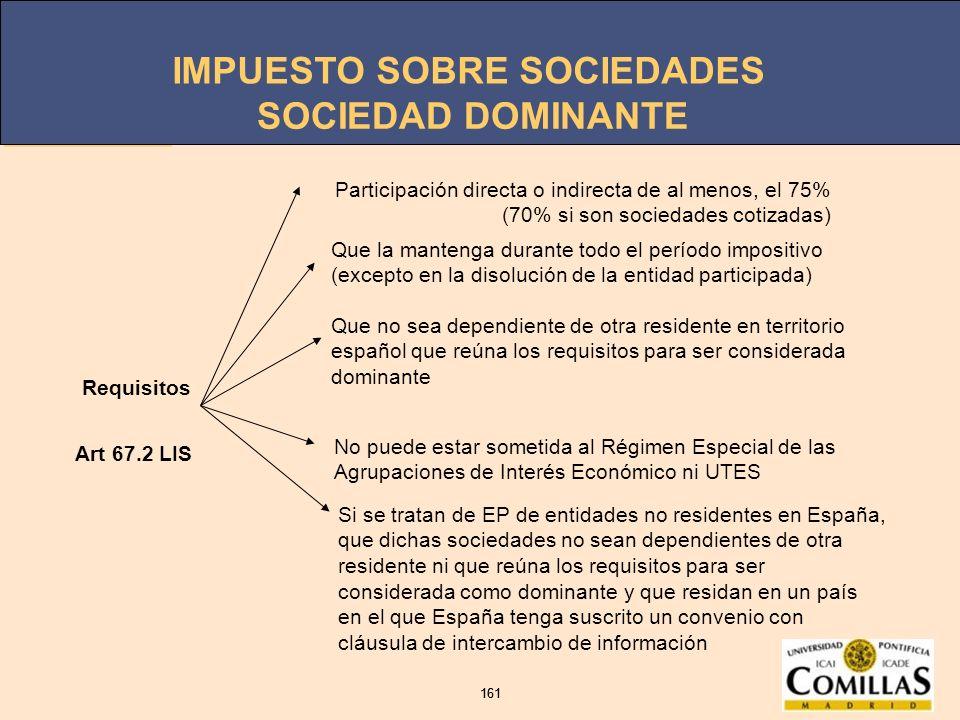 IMPUESTO SOBRE SOCIEDADES 161 IMPUESTO SOBRE SOCIEDADES 161 SOCIEDAD DOMINANTE Requisitos Participación directa o indirecta de al menos, el 75% (70% s