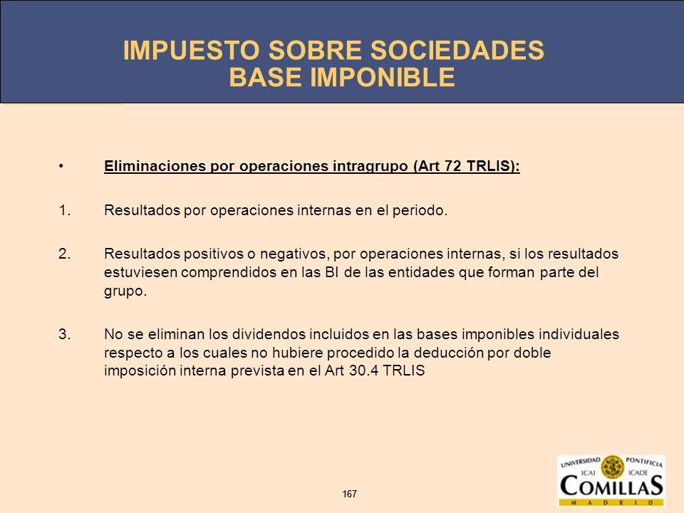 IMPUESTO SOBRE SOCIEDADES 167 IMPUESTO SOBRE SOCIEDADES 167 BASE IMPONIBLE Eliminaciones por operaciones intragrupo (Art 72 TRLIS): 1.Resultados por o