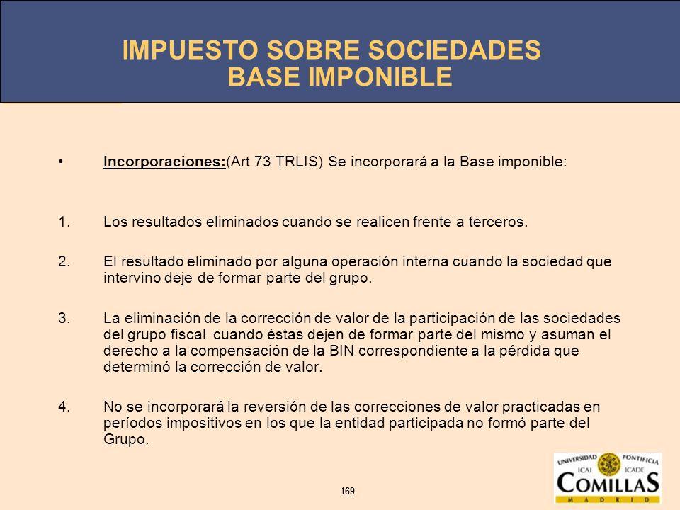 IMPUESTO SOBRE SOCIEDADES 169 IMPUESTO SOBRE SOCIEDADES 169 BASE IMPONIBLE Incorporaciones:(Art 73 TRLIS) Se incorporará a la Base imponible: 1.Los re