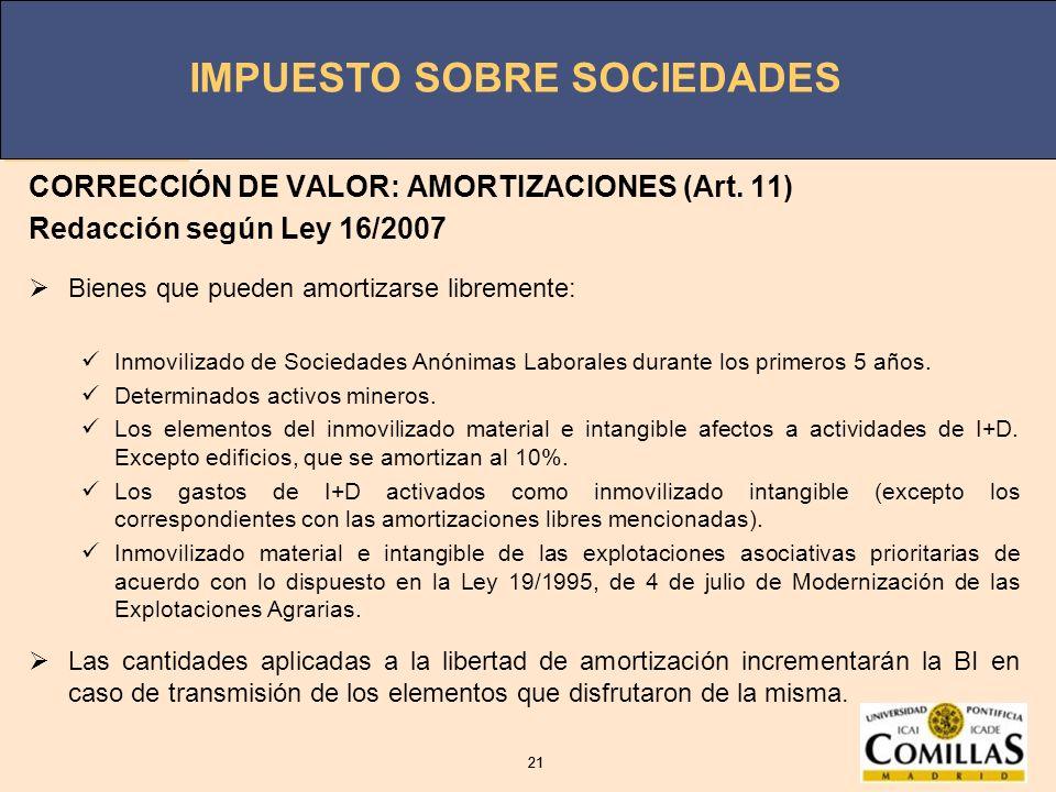 IMPUESTO SOBRE SOCIEDADES 21 IMPUESTO SOBRE SOCIEDADES 21 CORRECCIÓN DE VALOR: AMORTIZACIONES (Art. 11) Redacción según Ley 16/2007 Bienes que pueden