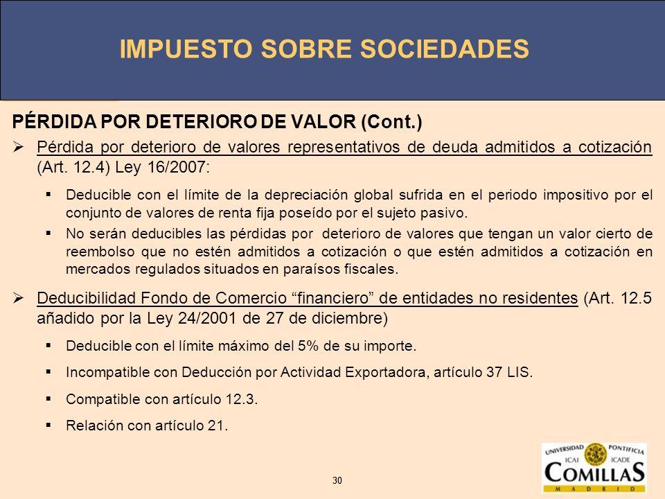 IMPUESTO SOBRE SOCIEDADES 30 IMPUESTO SOBRE SOCIEDADES 30 PÉRDIDA POR DETERIORO DE VALOR (Cont.) Pérdida por deterioro de valores representativos de d