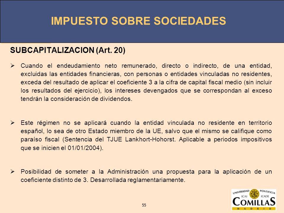 IMPUESTO SOBRE SOCIEDADES 55 IMPUESTO SOBRE SOCIEDADES 55 SUBCAPITALIZACION (Art. 20) Cuando el endeudamiento neto remunerado, directo o indirecto, de
