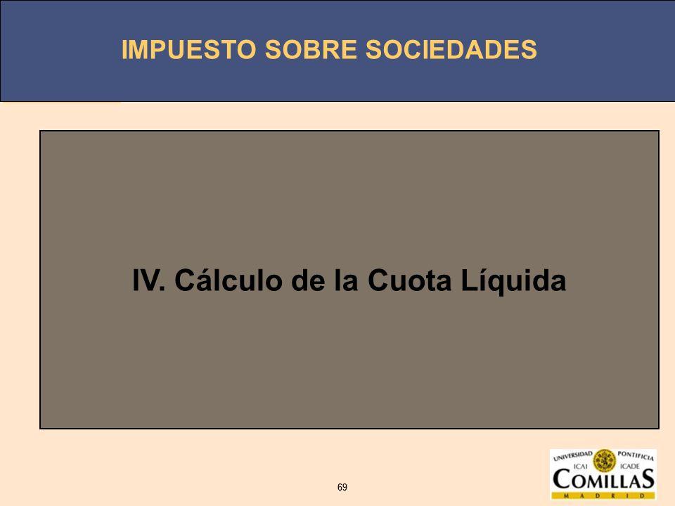 IMPUESTO SOBRE SOCIEDADES 69 IMPUESTO SOBRE SOCIEDADES 69 IV. Cálculo de la Cuota Líquida