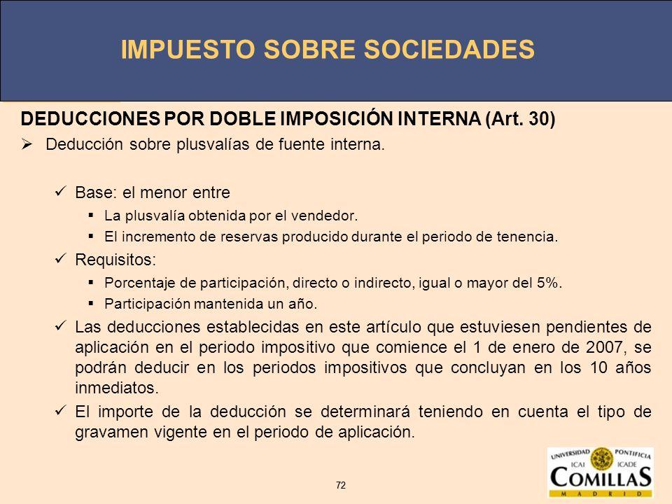 IMPUESTO SOBRE SOCIEDADES 72 IMPUESTO SOBRE SOCIEDADES 72 DEDUCCIONES POR DOBLE IMPOSICIÓN INTERNA (Art. 30) Deducción sobre plusvalías de fuente inte