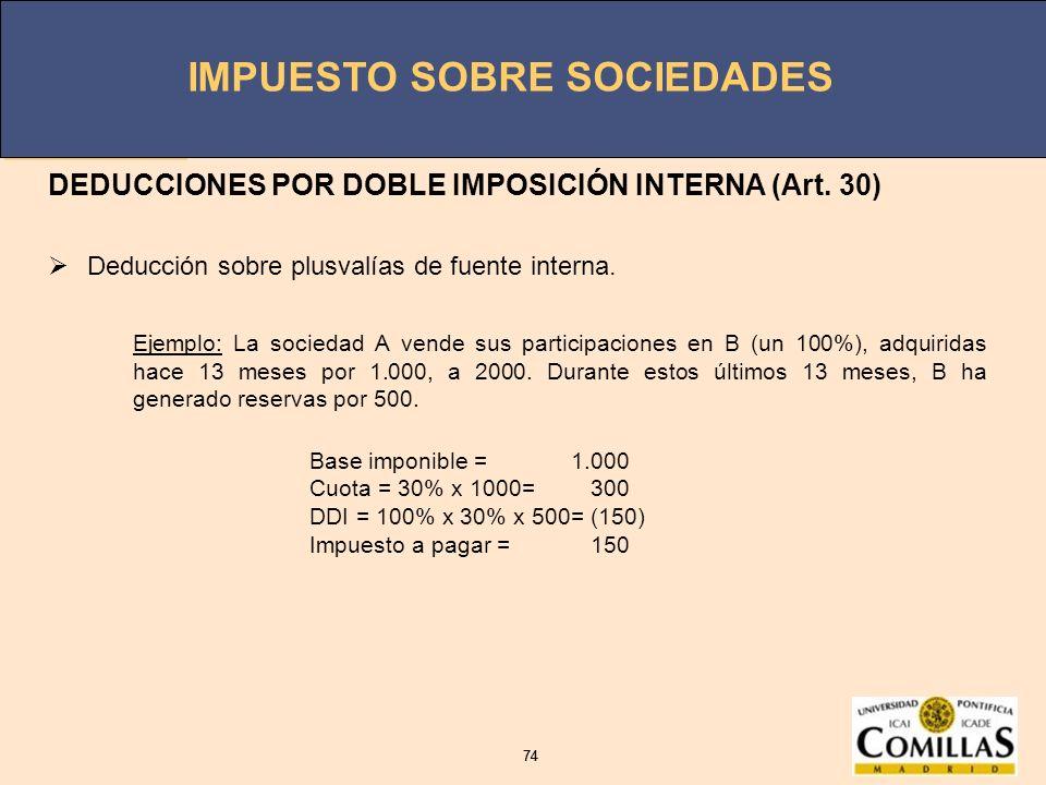 IMPUESTO SOBRE SOCIEDADES 74 IMPUESTO SOBRE SOCIEDADES 74 DEDUCCIONES POR DOBLE IMPOSICIÓN INTERNA (Art. 30) Deducción sobre plusvalías de fuente inte