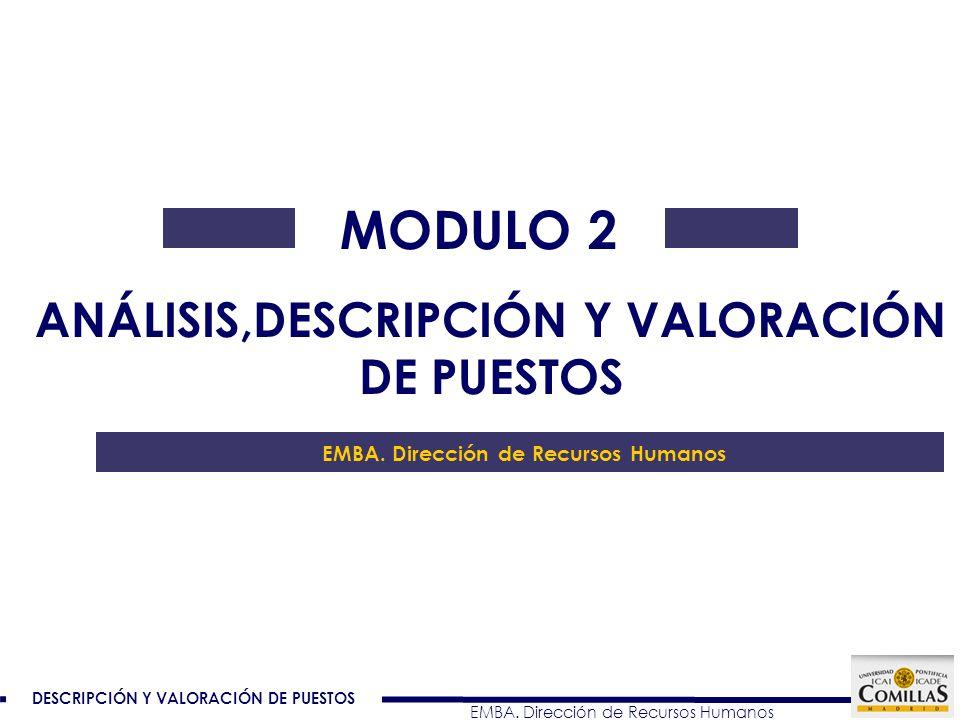 DESCRIPCIÓN Y VALORACIÓN DE PUESTOS EMBA.Dirección de Recursos Humanos Dirección Gral.