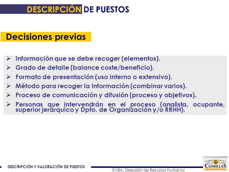 DESCRIPCIÓN Y VALORACIÓN DE PUESTOS EMBA. Dirección de Recursos Humanos Información que se debe recoger (elementos). Grado de detalle (balance coste/b