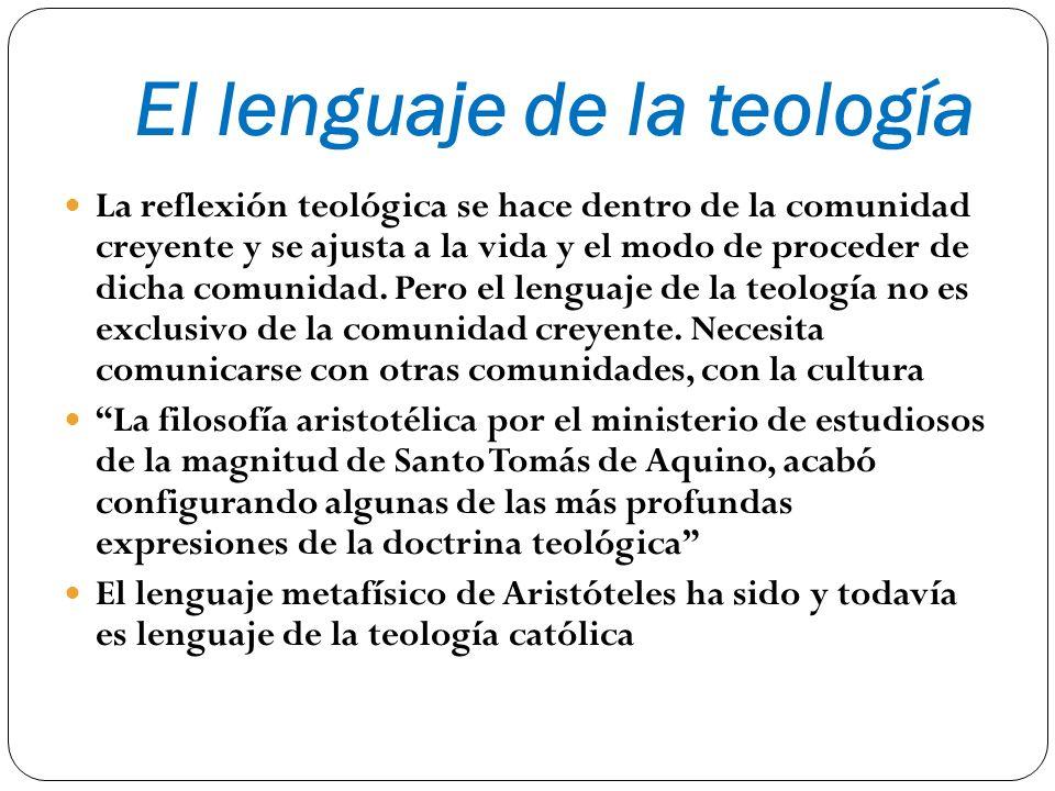 El lenguaje de la teología La reflexión teológica se hace dentro de la comunidad creyente y se ajusta a la vida y el modo de proceder de dicha comunid