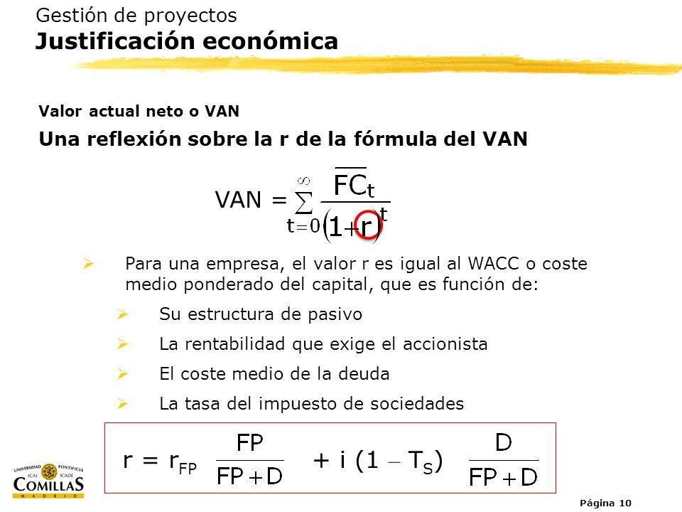 Página 10 Gestión de proyectos Justificación económica Valor actual neto o VAN Una reflexión sobre la r de la fórmula del VAN Para una empresa, el val