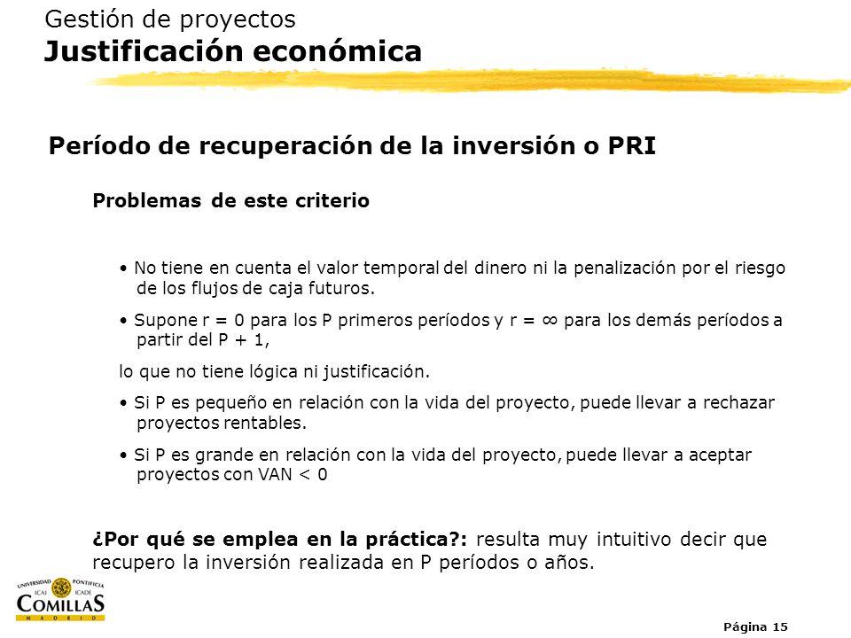 Página 15 Gestión de proyectos Justificación económica Período de recuperación de la inversión o PRI Problemas de este criterio No tiene en cuenta el