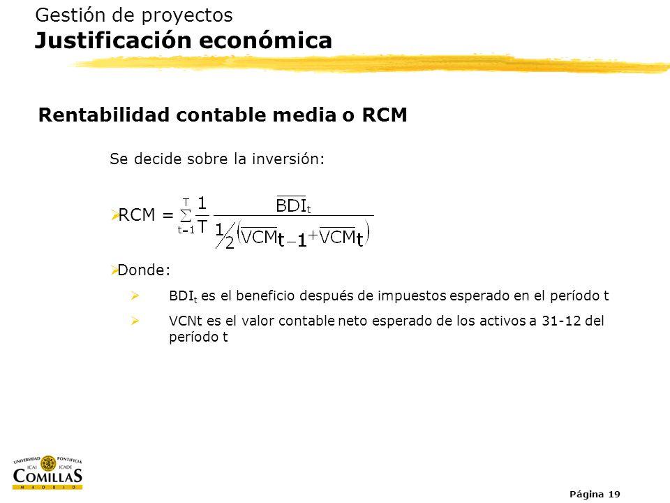 Página 19 Se decide sobre la inversión: RCM = Donde: BDI t es el beneficio después de impuestos esperado en el período t VCNt es el valor contable net