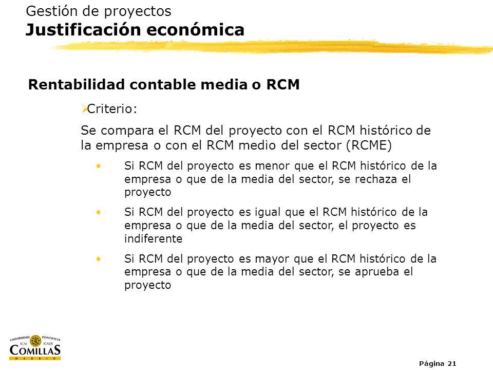 Página 21 Gestión de proyectos Justificación económica Rentabilidad contable media o RCM Criterio: Se compara el RCM del proyecto con el RCM histórico