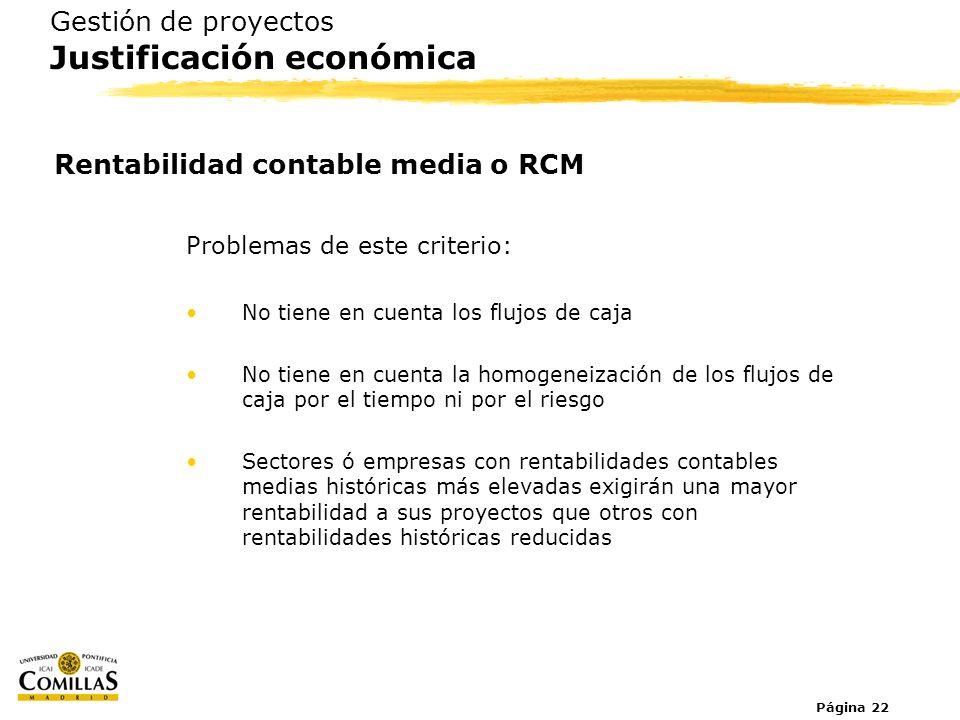 Página 22 Gestión de proyectos Justificación económica Rentabilidad contable media o RCM Problemas de este criterio: No tiene en cuenta los flujos de