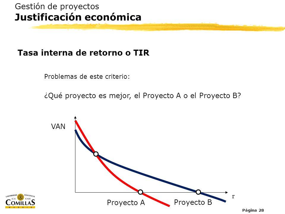 Página 28 Gestión de proyectos Justificación económica Tasa interna de retorno o TIR Problemas de este criterio: ¿Qué proyecto es mejor, el Proyecto A
