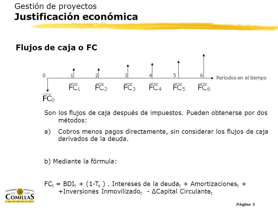 Página 3 Gestión de proyectos Justificación económica Flujos de caja o FC Son los flujos de caja después de impuestos. Pueden obtenerse por dos método