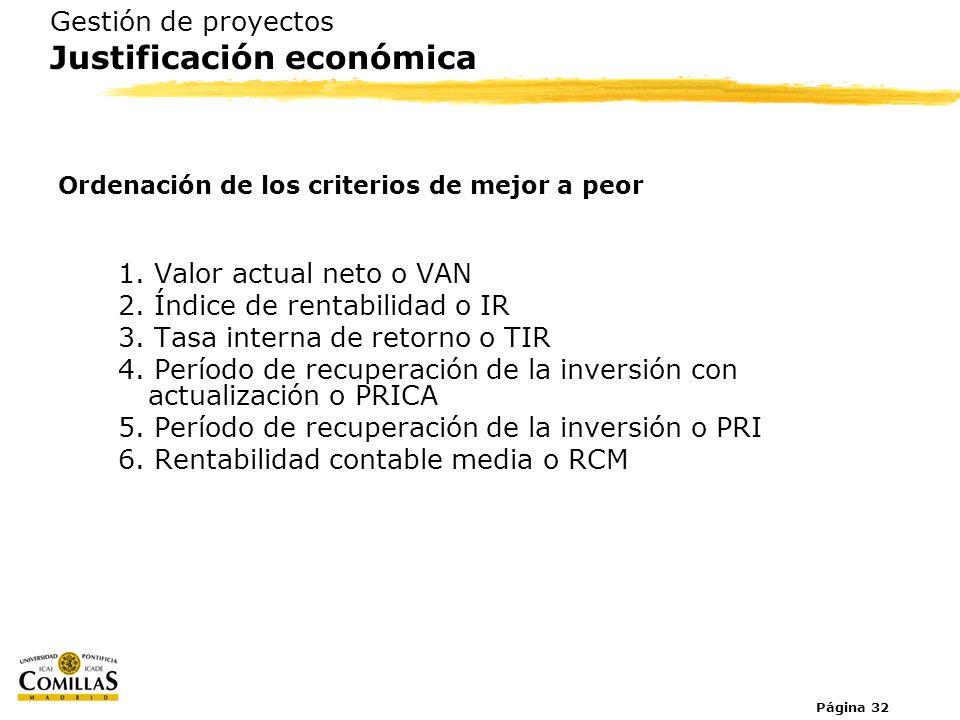 Página 32 Gestión de proyectos Justificación económica Ordenación de los criterios de mejor a peor 1. Valor actual neto o VAN 2. Índice de rentabilida