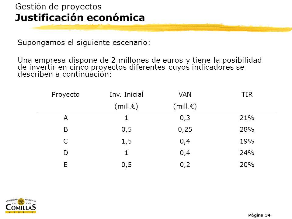 Página 34 Gestión de proyectos Justificación económica Supongamos el siguiente escenario: Una empresa dispone de 2 millones de euros y tiene la posibi