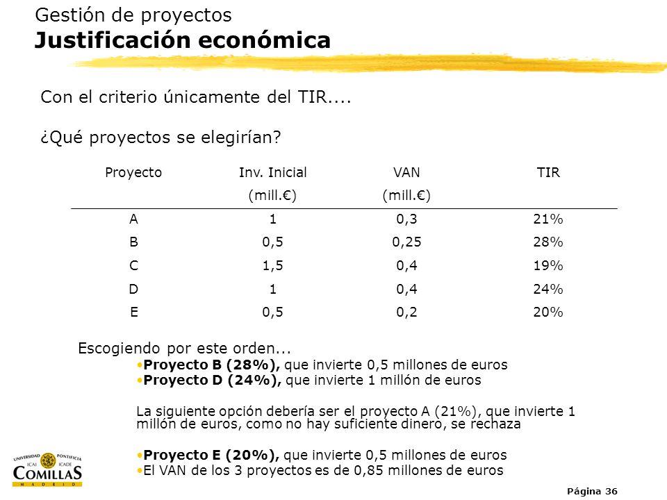 Página 36 Gestión de proyectos Justificación económica Con el criterio únicamente del TIR.... ¿Qué proyectos se elegirían? Proyecto A B C D E Inv. Ini