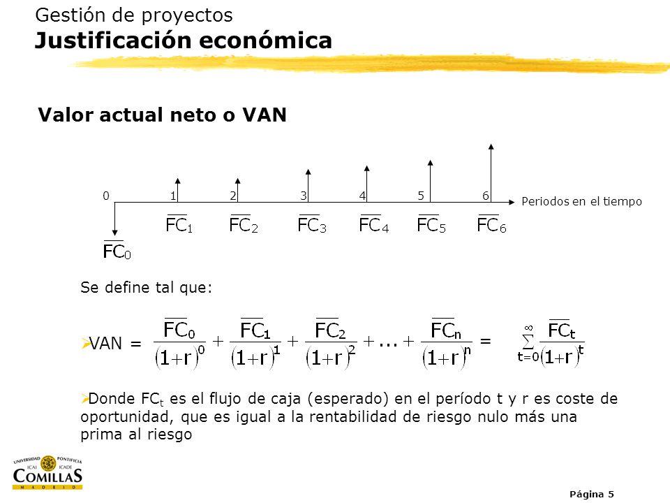 Página 5 Gestión de proyectos Justificación económica Valor actual neto o VAN Se define tal que: VAN = Donde FC t es el flujo de caja (esperado) en el