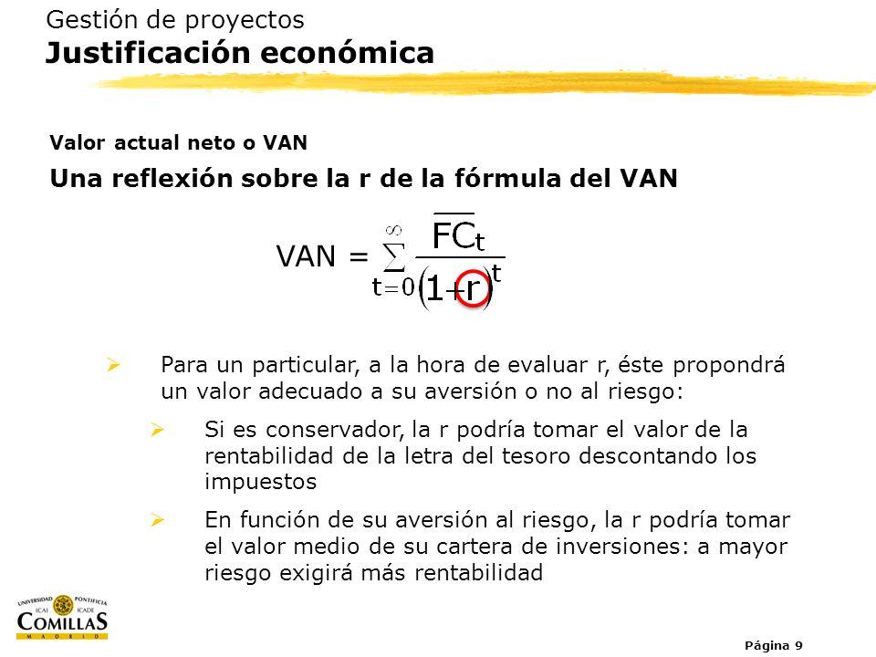 Página 9 Gestión de proyectos Justificación económica Valor actual neto o VAN Una reflexión sobre la r de la fórmula del VAN VAN = Para un particular,