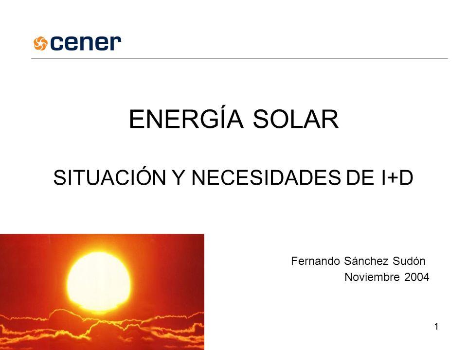11 ENERGÍA SOLAR SITUACIÓN Y NECESIDADES DE I+D Fernando Sánchez Sudón Noviembre 2004