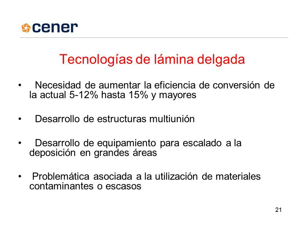 21 Tecnologías de lámina delgada Necesidad de aumentar la eficiencia de conversión de la actual 5-12% hasta 15% y mayores Desarrollo de estructuras multiunión Desarrollo de equipamiento para escalado a la deposición en grandes áreas Problemática asociada a la utilización de materiales contaminantes o escasos