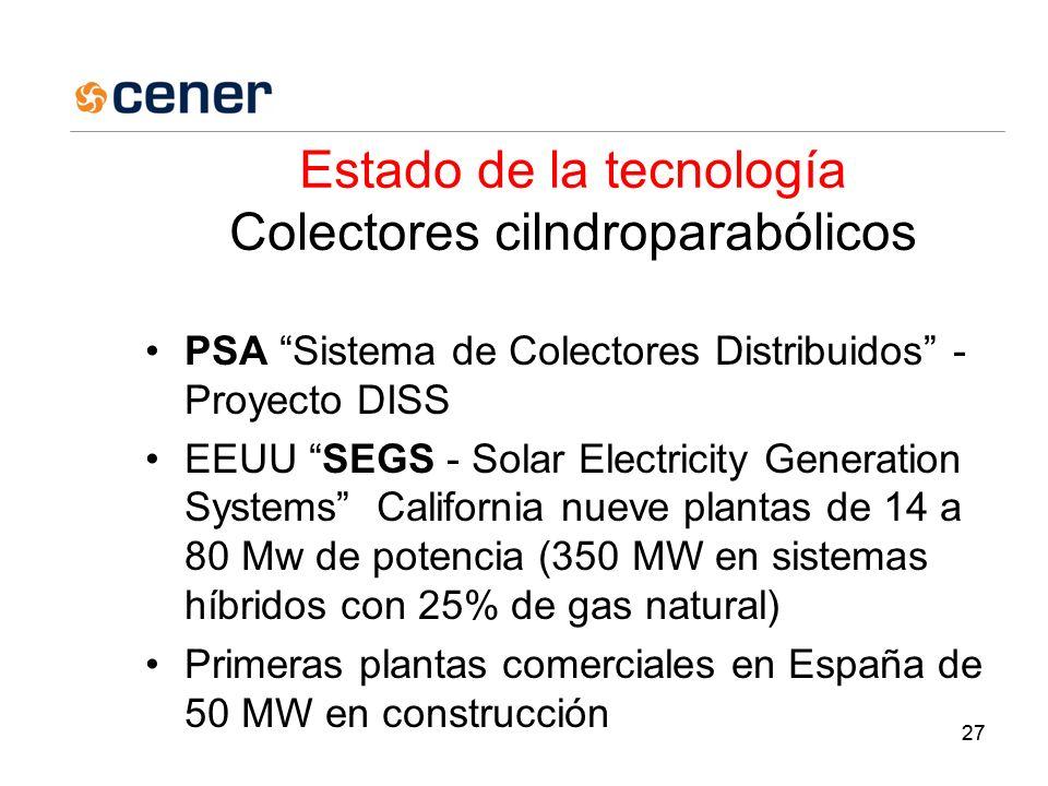 27 Estado de la tecnología Colectores cilndroparabólicos PSA Sistema de Colectores Distribuidos - Proyecto DISS EEUU SEGS - Solar Electricity Generation Systems California nueve plantas de 14 a 80 Mw de potencia (350 MW en sistemas híbridos con 25% de gas natural) Primeras plantas comerciales en España de 50 MW en construcción