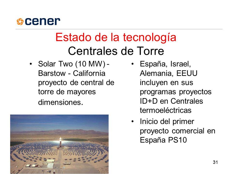 31 Estado de la tecnología Centrales de Torre Solar Two (10 MW) - Barstow - California proyecto de central de torre de mayores dimensiones.