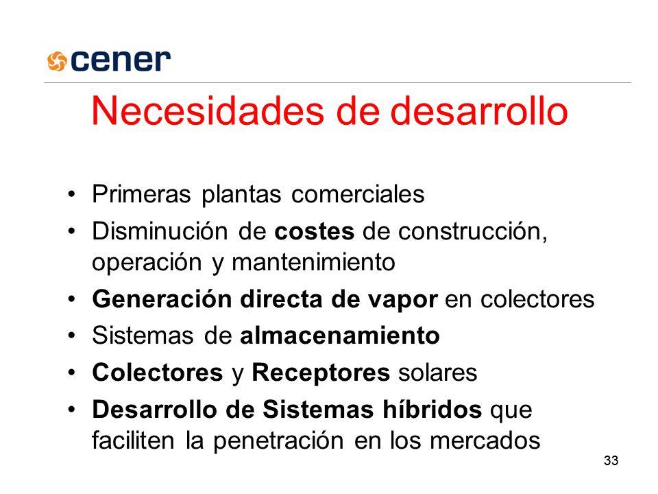 33 Necesidades de desarrollo Primeras plantas comerciales Disminución de costes de construcción, operación y mantenimiento Generación directa de vapor en colectores Sistemas de almacenamiento Colectores y Receptores solares Desarrollo de Sistemas híbridos que faciliten la penetración en los mercados