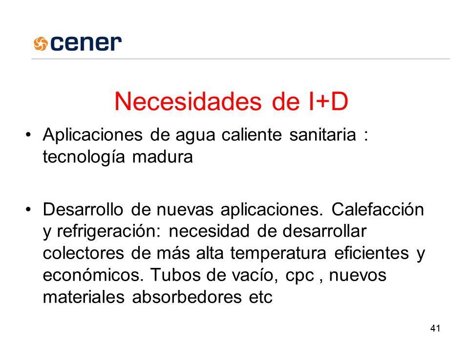 41 Necesidades de I+D Aplicaciones de agua caliente sanitaria : tecnología madura Desarrollo de nuevas aplicaciones.