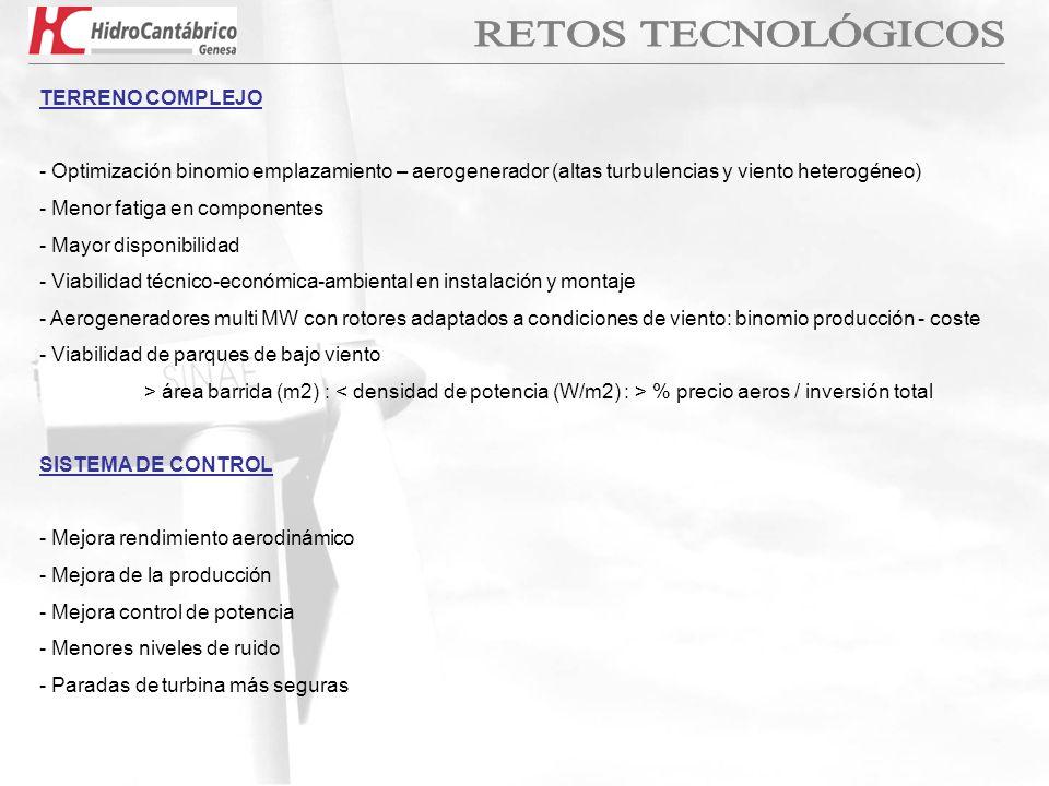TERRENO COMPLEJO - Optimización binomio emplazamiento – aerogenerador (altas turbulencias y viento heterogéneo) - Menor fatiga en componentes - Mayor