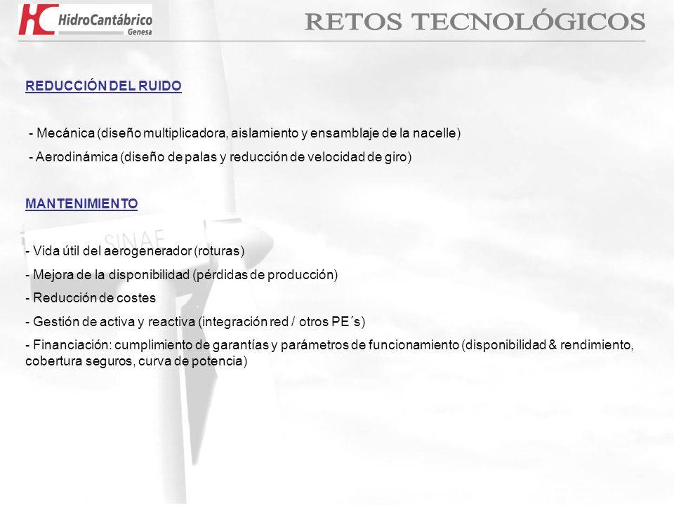 REDUCCIÓN DEL RUIDO - Mecánica (diseño multiplicadora, aislamiento y ensamblaje de la nacelle) - Aerodinámica (diseño de palas y reducción de velocida