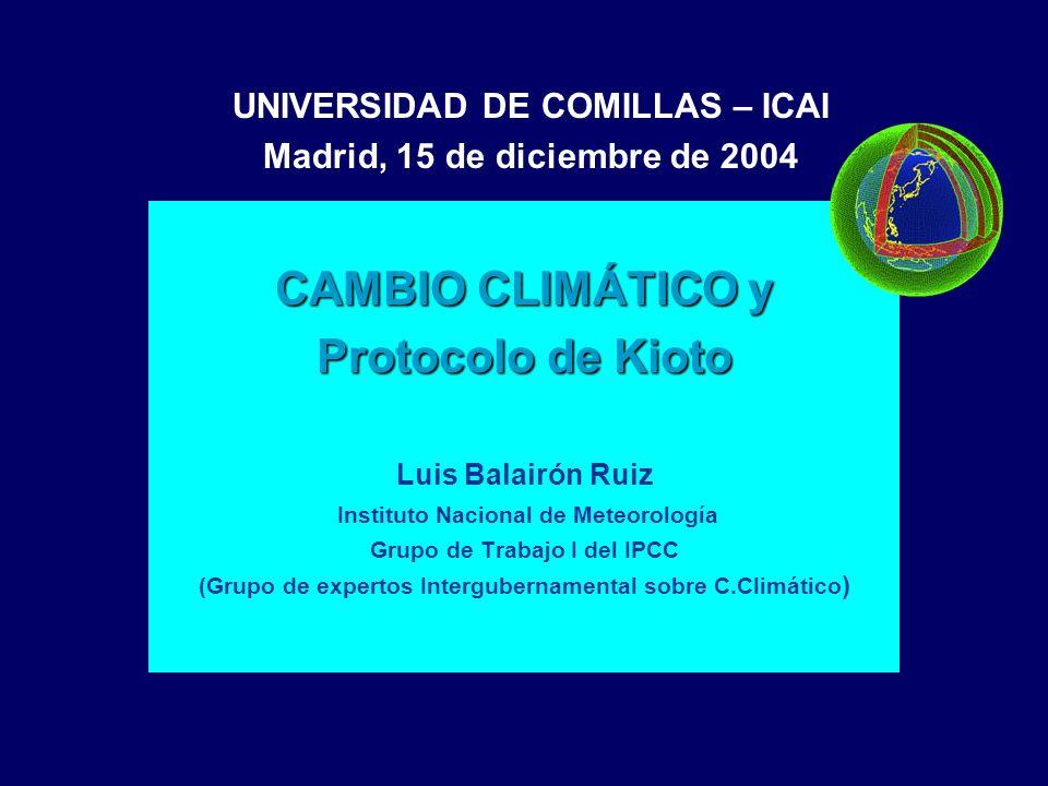 CAMBIO CLIMÁTICO y Protocolo de Kioto Luis Balairón Ruiz Instituto Nacional de Meteorología Grupo de Trabajo I del IPCC (Grupo de expertos Intergubern