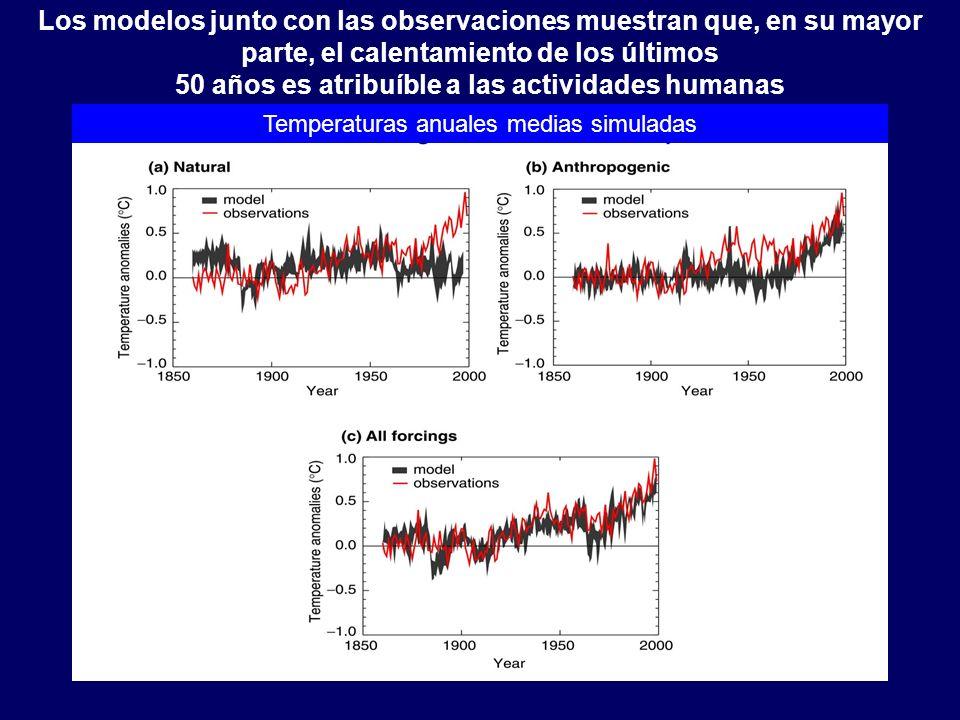 Cambio climático/LB20 Los modelos junto con las observaciones muestran que, en su mayor parte, el calentamiento de los últimos 50 años es atribuíble a