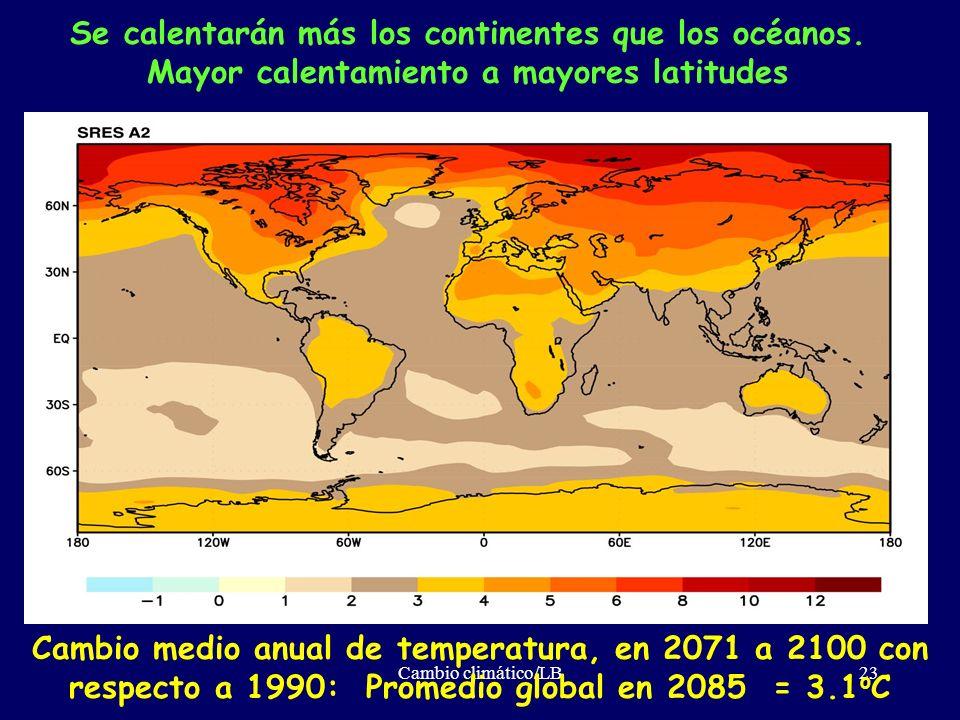 Cambio climático/LB23 Se calentarán más los continentes que los océanos. Mayor calentamiento a mayores latitudes Cambio medio anual de temperatura, en