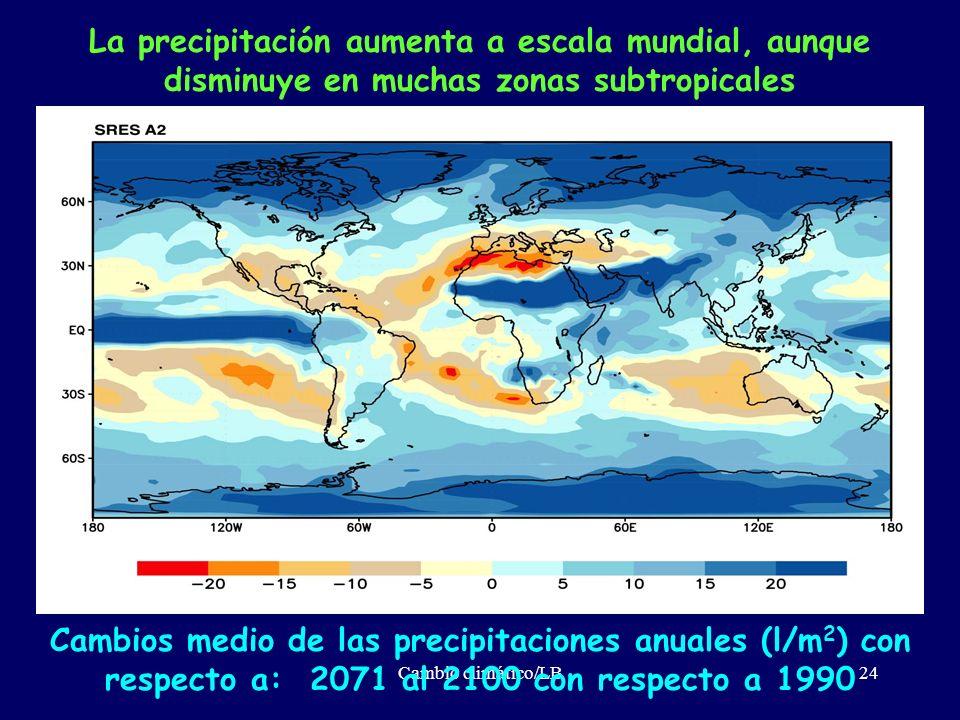 Cambio climático/LB24 La precipitación aumenta a escala mundial, aunque disminuye en muchas zonas subtropicales Cambios medio de las precipitaciones a