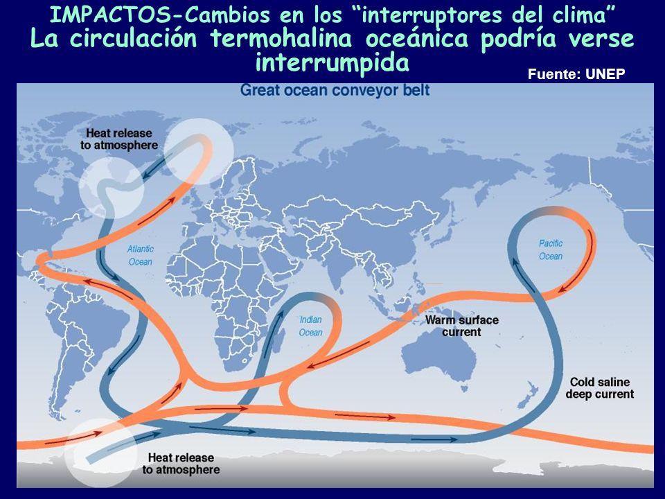 Cambio climático/LB28 IMPACTOS-Cambios en los interruptores del clima La circulación termohalina oceánica podría verse interrumpida Fuente: UNEP