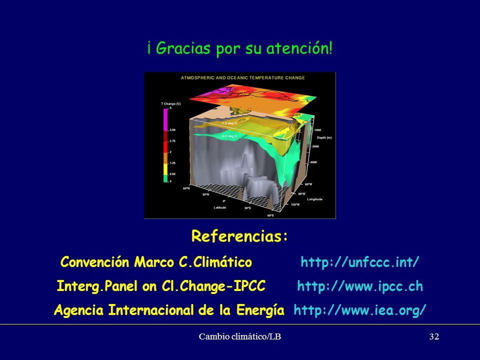 Cambio climático/LB32 Referencias: Convención Marco C.Climático http://unfccc.int/ Interg.Panel on Cl.Change-IPCChttp://www.ipcc.ch Agencia Internacio