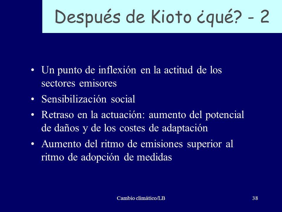 Cambio climático/LB38 Después de Kioto ¿qué? - 2 Un punto de inflexión en la actitud de los sectores emisores Sensibilización social Retraso en la act