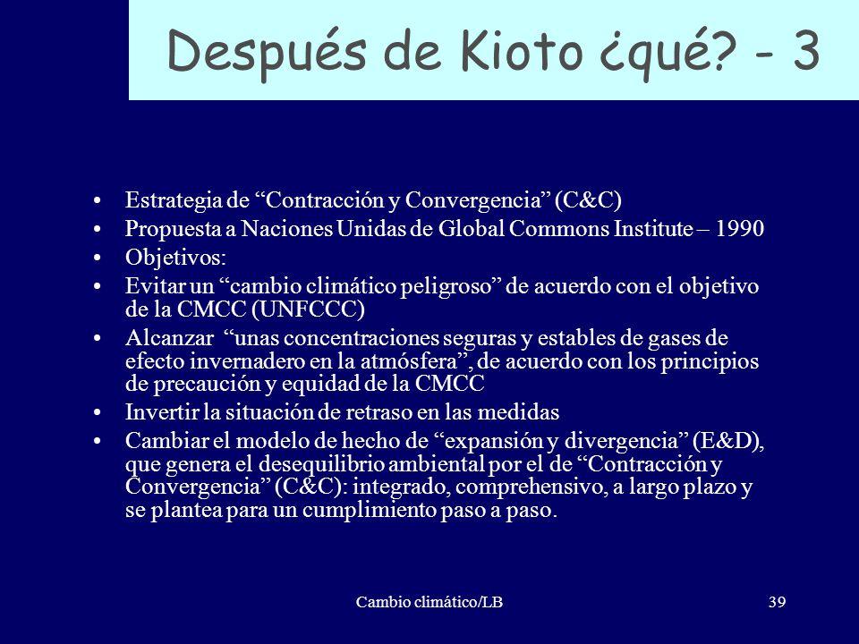 Cambio climático/LB39 Después de Kioto ¿qué? - 3 Estrategia de Contracción y Convergencia (C&C) Propuesta a Naciones Unidas de Global Commons Institut