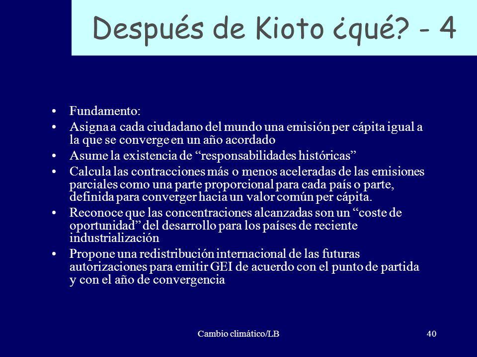 Cambio climático/LB40 Después de Kioto ¿qué? - 4 Fundamento: Asigna a cada ciudadano del mundo una emisión per cápita igual a la que se converge en un