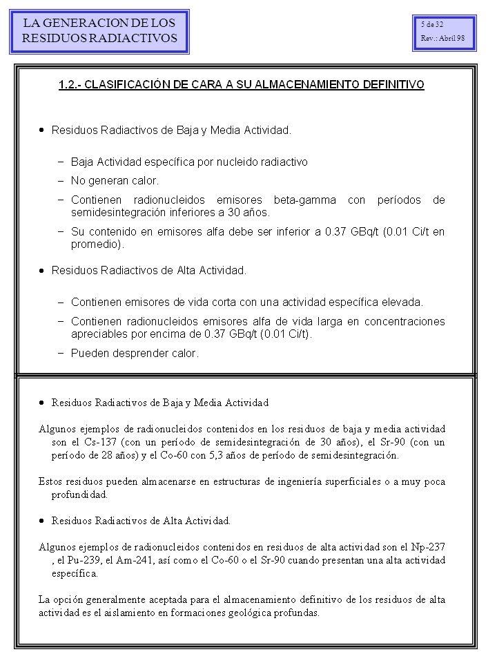 LA GENERACION DE LOS RESIDUOS RADIACTIVOS 26 de 32 Rev.: Marzo 99 PRODUCCION DE RBMA DE LAS CENTRALES NUCLEARES ESPAÑOLAS INVENTARIO DE BULTOS PRODUCIDOS EN LAS CC.NN.