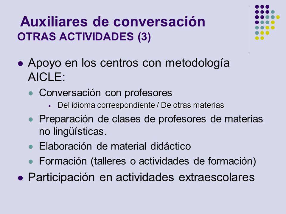 Auxiliares de conversación OTRAS ACTIVIDADES (3) Apoyo en los centros con metodología AICLE: Conversación con profesores Del idioma correspondiente /