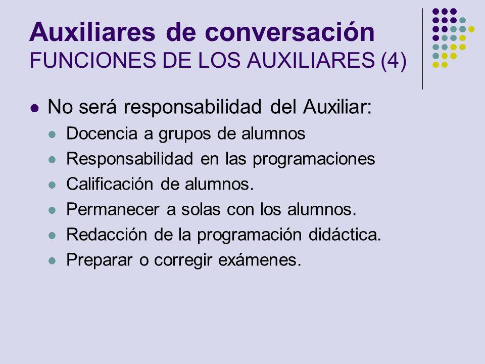 Auxiliares de conversación FUNCIONES DE LOS AUXILIARES (4) No será responsabilidad del Auxiliar: Docencia a grupos de alumnos Responsabilidad en las p