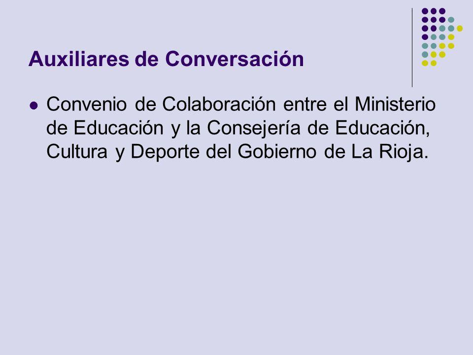 Auxiliares de Conversación Convenio de Colaboración entre el Ministerio de Educación y la Consejería de Educación, Cultura y Deporte del Gobierno de L